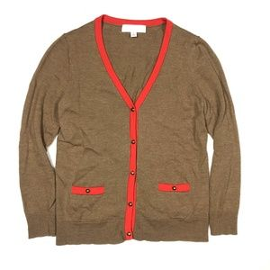 Coach Medium Cardigan Sweater Red Brown Merino